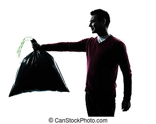 man dumping garbage bag in silhouettes on white background