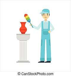 Man Dusting Antique Vase With Dust Brush, Cleaning Service Professional Cleaner In Uniform Cleaning In The Household