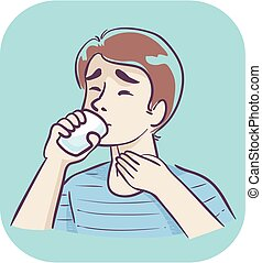 Illustration of a Man Having Difficulty Drinking a Glass of Water and Holding His Throat