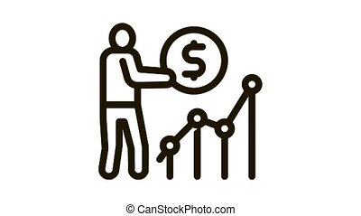 man earn money infographic Icon Animation. black man earn money infographic animated icon on white background