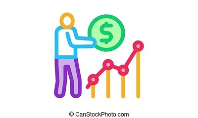 man earn money infographic Icon Animation. color man earn money infographic animated icon on white background