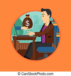Man earning money from online business.
