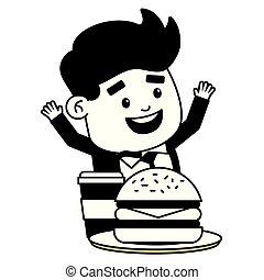 man eating burger soda