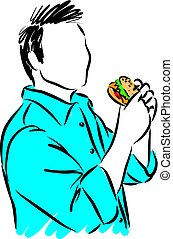 man eating burger vector illustration