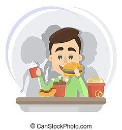 Man eating fast food.