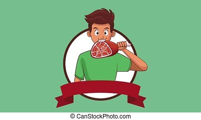 Man eating ham HD animation - Young man eating delicious jam...