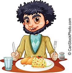 Man eating meal on the table