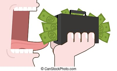 Man eating money. Destruction of suitcase with cash. Open...