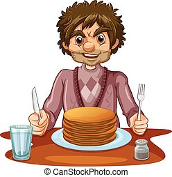Man eating pancakes for breakfast