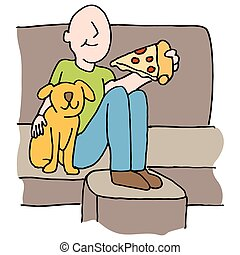 Man eating pizza slice with dog on sofa