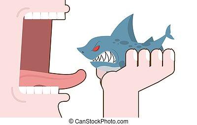 Man eating shark. Destruction of marine predator. Consumption underwater animal. Decimation of fish