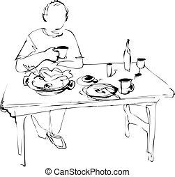 man eats at the table
