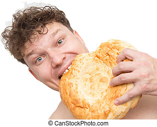 man eats bread on a white background