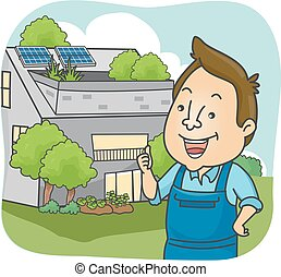 Man Eco House Owner Thumbs Up