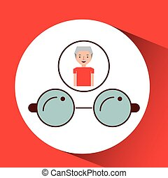 man elderly with gift glasses graphic