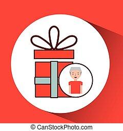 man elderly with gift graphic