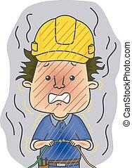 Man Electrician Electrocute
