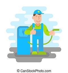 Man electro car refueler