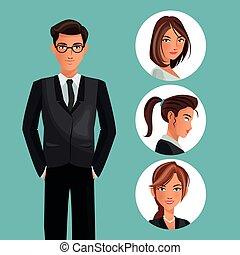 man elegant employee office women icons
