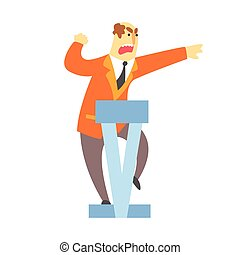 Man emotionally speaking from the rostrum character