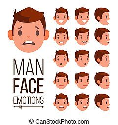 Man Emotions Vector. Different Male Face Avatar Expressions Set. Emotional Set For Animation. Isolated Flat Cartoon Illustration