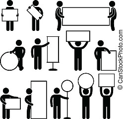 A set of human figure and pictogram carrying blank sign and banner.