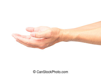 Man empty hands open on white background with clipping path