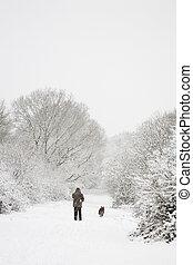 man, en, dog, in, sneeuw, met, de ruimte van het exemplaar