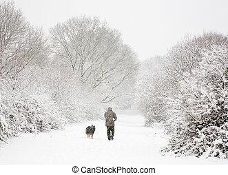 man, en, dog, in, sneeuw