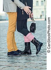 man en vrouw, benen, gedurende, een, date., closeup, van,...