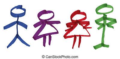 man en vrouw, de cijfers van de stok, in, inkt, teken