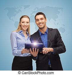 man en vrouw, met, tablet pc