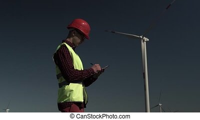 Man Engineer Checks Working Plan
