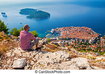 man enjoying beautiful view of Dubrovnik