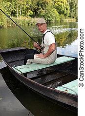 Man enjoying fishing, trip