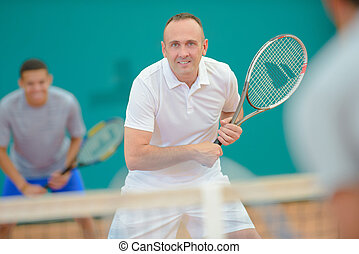 Man enjoying game of tennis