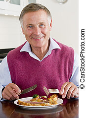 Man Enjoying Healthy meal,mealtime