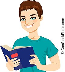 Man Enjoying Reading - Young brown haired man happy enjoying...