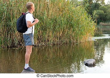 Man enjoying the tranquillity of nature