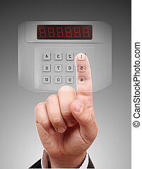 Man entering the door or safe, secure data by touch screen