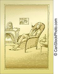 Man - A man sits near a fire-place. Vector illustration