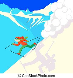 Man escaping from snow avalanche in mountains. Snowslide or snowslip