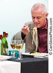 man, eten, restaurant