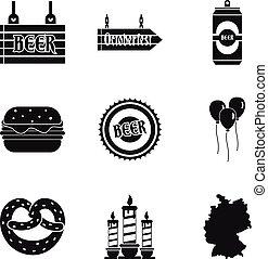 Man evening icons set, simple style - Man evening icons set....