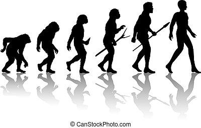 Man evolution. Silhouette progress growth development....