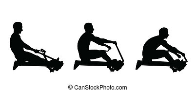man exercise on rowing machine