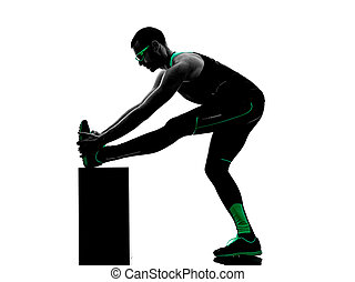 man exercises stretching warming up  fitness silhouette