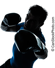 man exercising boxing boxer posture - one caucasian man...