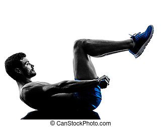 man exercising fitness crunches weights exercises silhouette
