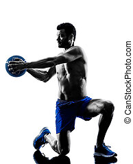 man exercising fitness weights exercises silhouette